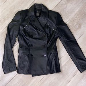 BCBGMaxAzria I Leather Studded Motorcycle Jacket